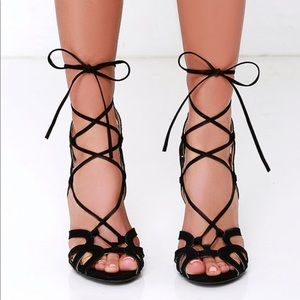 Lulu's Shoes - Free Rein Black Suede Lace-Up Heels